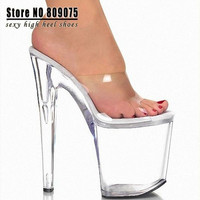 Sexy 8 Inch Transparent Crystal Jelly Shoes Heels Women Summer Sandals Fashion High Heel Slippers Sexy Clubbing High Heels = 1945700036