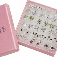 Pack of 18 Color Crystal Fashion Jewelry Stud Earrings for Teen Girls Women