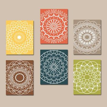 Kitchen Wall Art, Mandala Design, Bedroom Pictures Canvas or Prints Bathroom Decor, Medallion Pictures, Botanical Design Decor, Set of 6