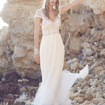 Jark Tozr V-neck Backless Sparkly Beading Crystal Elegant Chiffon Boho Beach Wedding Dress Bohemian Vestidos De Novia Para Playa