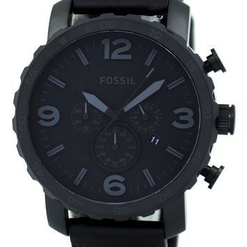 Fossil Nate Chronograph Black Ion-plated Leather JR1354 Men's Watch