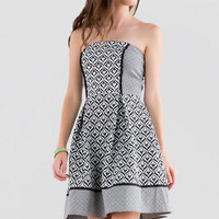 HARPER STRAPLESS PRINTED DRESS
