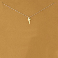 Sparkling Key Gold Plated Pendant Necklace Key Clavicle Chains Statement Necklace Has Card