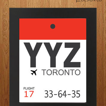 Printable Art - Travel Gift - Toronto -  Luggage Tag - Instant Download