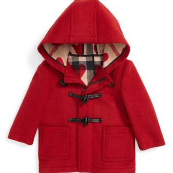 Burberry 'Brogan' Hooded Wool Toggle Coat (Baby Girls) | Nordstrom