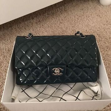 Authentic chanel 2.55 classic patent dark turquoise double flap bag