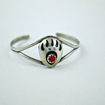 Vintage Sterling Silver Red Coral Native American Bear Claw Inner Strength Cuff Bracelet for Baby or Small Child Simply Hallmarked Sterling