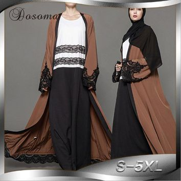 Muslim Women Abaya Maxi Dress Lace Cardigan Tunic Jilbab Long Robe Gowns Jalabiya Loose Style Middle East Arab Islamic Clothing