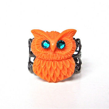 Cute orange owl ring - small owl ring - fun owl ring with swarovski crystal eyes, filigree gunmetal ring base by Sparkle City Jewelry