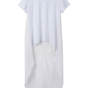 White Chiffon Panelled Back Short Sleeve Asymmetric T-shirt