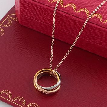 Cartier Fashion Necklace Mother Gift Silver Gold Engraved Letter Pendant Necklace Shiny New Arrival Jewelry Gift