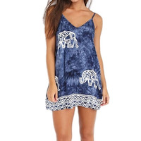 Elephant Print Mini Dress