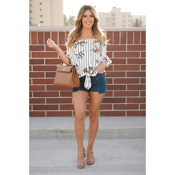 Take A Guess Off The Shoulder Top (Ivory)