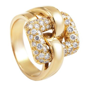 Boucheron Diamond Pave gold Buckle Ring