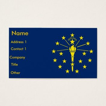 Business Card with Flag of Indiana U.S.A.