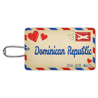 Air Mail Postcard Love for Dominican Republic ID Card Luggage Tag