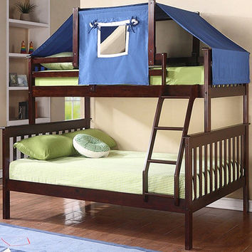 Cappuccino & Blue Mission Twin & Full Tent Bunk Bed   something special every day