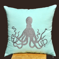 Octopus Throw Pillow Cover, Decorative Pillow Cover, Light Blue Pillow Gray Octopus, Couch Pillow, Pillow Cover 18 x 18