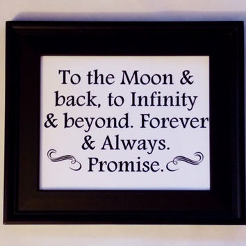 To The Moon And Back Love Quote Art Print. Wedding, Anniversary, Nursery. 8x10 Typography Print.