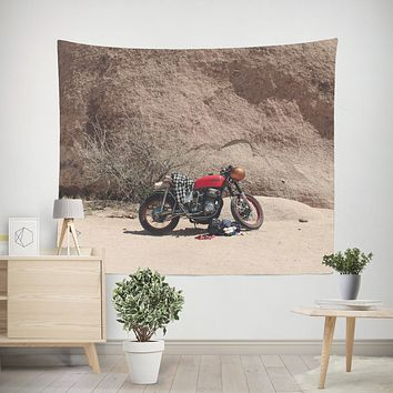 Motorcycle in Joshua Tree Desert, Hipster Wall Tapestry - 4 Sizes
