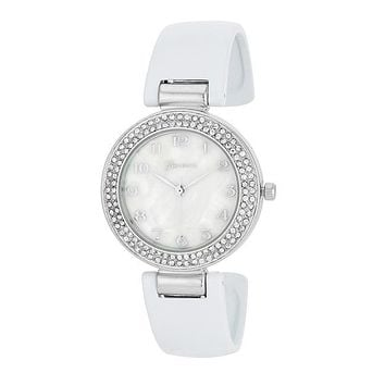 Lucia White Crystal Silver Cuff Watch