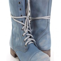 Blue Leather Distressed Steve Madden Combat Boots