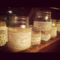Burlap and Lace Mason Jars - Candle holder - Vase - Wedding centerpiece - Shower (Set of 5) - mix and match