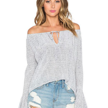 Gray Bell Sleeve Off-Shoulder Cropped Blouse