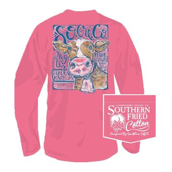 When the Cows Come Home Long Sleeve Tee in Pink Jam by Southern Fried Cotton