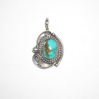 Vintage Native American Small Turquoise Pendant Signed D