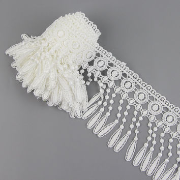 3 Yards Polyester Off White Lamp Dangling Fringe Lace Trims For Sewing