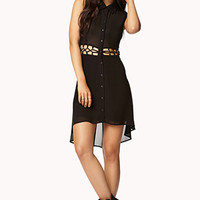 FOREVER 21 Caged Waist Shirt Dress Black
