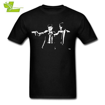 Supernatural Fiction T Shirt Men's Short Sleeve 100% Cotton Graphic Tee Male Latest Oversize Clothing Classic Teenboys Tee Shirt