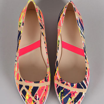 Neon Abstract Paint Print Slip On Loafer Flat
