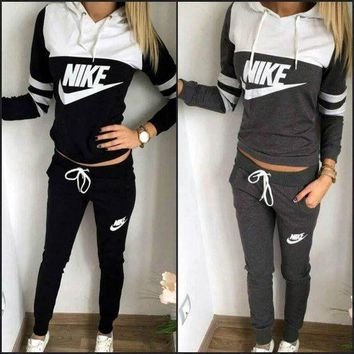 DCCKUNT Trendy 'NIKE' Print Hoodie Top Sweater Pants Sets + Nice Free Necklace Gift