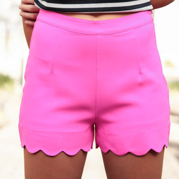 Think Hot Pink Scalloped Shorts - Lotus Boutique