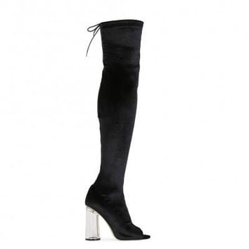 PDXHB LONDON PERSPEX FLARE HEEL LONG BOOTS IN BLACK VELVET