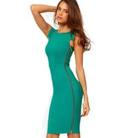 Summer Women Side Zipper Business Wear to Work Dress Fitted Bodycon Stretch Casual Wiggle Sheath Pencil Dresses E563