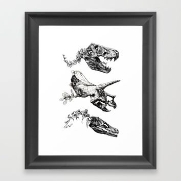 Jurassic Bloom. Framed Art Print by Sinpiggyhead