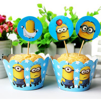 Set 24pc/set Despicable Me Minions Paper Cupcake Wrappers and Toppers for Kids Birthday Party Decoration Cakecup Picks Toppers