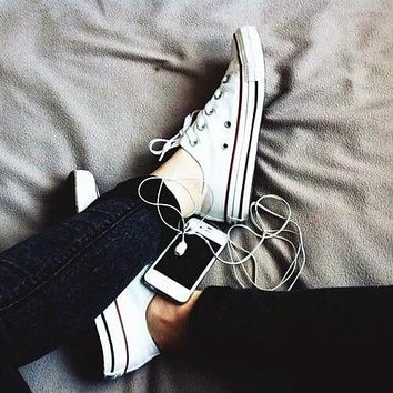Women With Men White Converse Fashion Canvas Flats Sneakers Sport Shoes-3