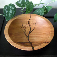 Wooden Bowl - Rising Tree, Pyrography Design, Modern, Woodburned, Beech Wood, Made to Order