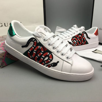 Gucci Woman Fashion Snake Embroidery Flats Shoes Sneakers Sport Shoes