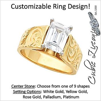 Cubic Zirconia Engagement Ring- The Chelsea (0.25-3.00 CT Customizable Solitaire Hand-Engraved Cathedral Setting)