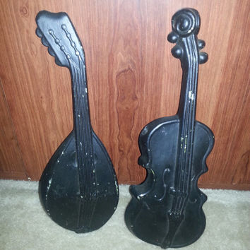 Vintage Cast Aluminum Set of 2 Wall Hanging Violin and Mandolin by Royal