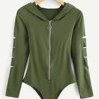 Cut Out Sleeve Zipper Front Hoodie Bodysuit