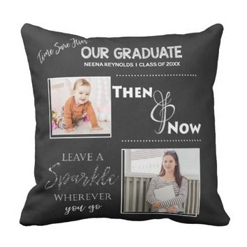 Our Graduate | Then & Now | Photo | Throw Pillow