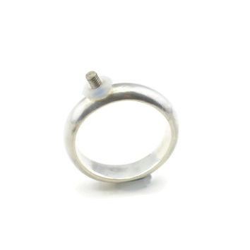 Sterling Silver Interchangeable Ring Band with 2.5 mm Thread