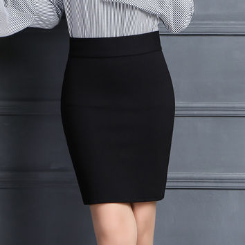 Pencil Skirt Women 2017 Elastic High Waist Slim Hips Red Black Formal Saias Feminino Lady OL Office Bodycon Skirts Plus Size