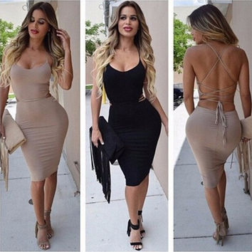Women Sexy Backless Deep V-neck Dress = 1946245188